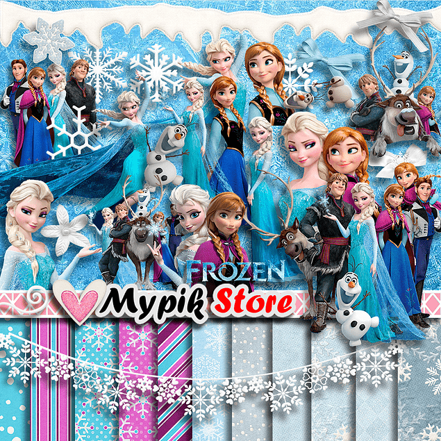 Frozen Scrapbook Digital Pictures Kit - Scrapbook