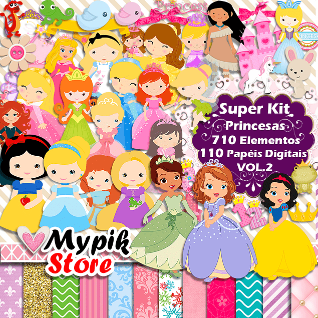 Kit Digital Princesas Disney Baby Scrapbook - VOL.2