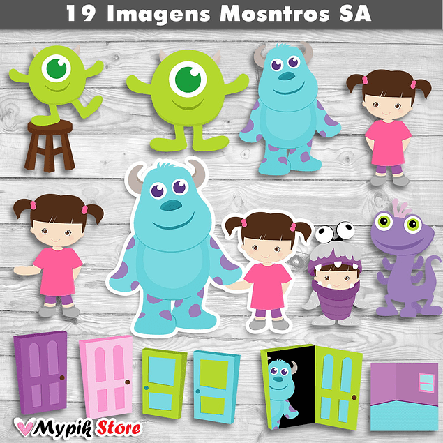 Kit Digital Imágenes Monsters S.A Cutes - 01