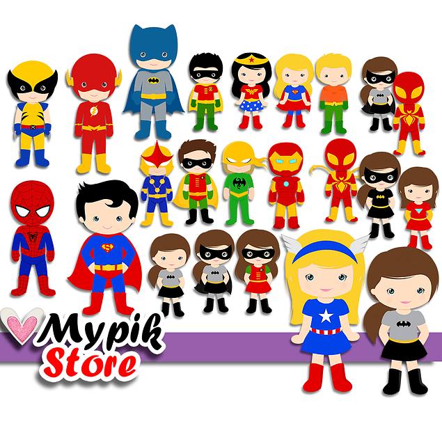 Super Kit Digital Super Heróis Marvel & DC - Scrapbook