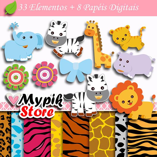 Kit Digital Animais Zoológico Safári