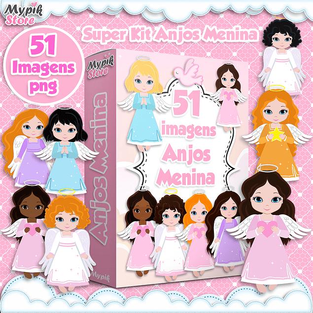 Kit Digital Anjos Menina Imagens Png