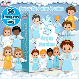 Kit Digital Anjos Menino Imagens Png