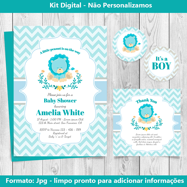 Kit Digital Baby Té Azul Editable para imprimir
