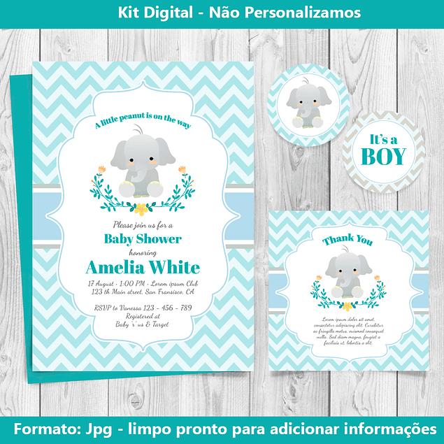 Kit Digital Baby Chá Azul Elefante - Editável para imprimir
