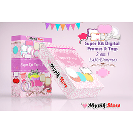 Etiquetas y marcos digitales Super Kit - Scrapbook