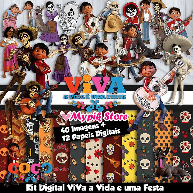 Kit Digital Coco Viva a Vida e uma Festa