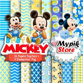 Kit Digital Mickey baby Disney - Coleção Personagens Famosos