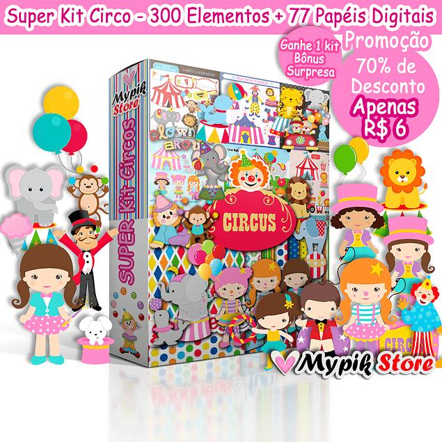 Colección completa de Super Kit Digital Circus para personalizar e imprimir
