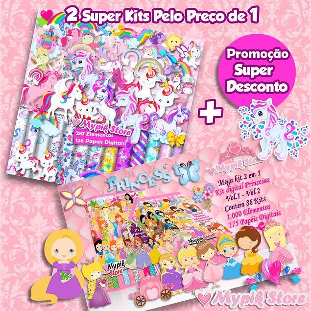 Pacote com 2 Super Kits Digitais - Unicórnios e Princesas