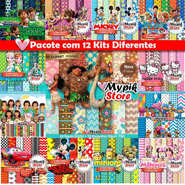 Super Kit Digital com 12 Kits - Coleção Scrapbook