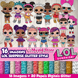 Kit Digital LOL Surprise Glitter Style para lembrancinhas personalizadas