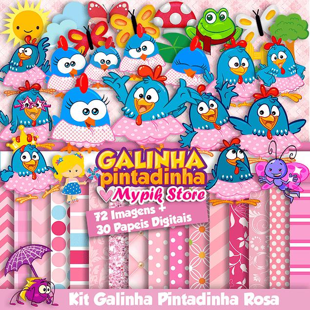 Kit Digital Galinha Pintadinha Rosa - Scrapbook