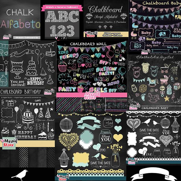 Super Colección 30 Kits Digitales Chalkboard Scrapbook - Cuadro Negro