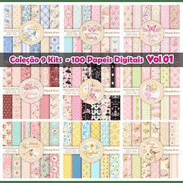 Coleção 9 kits Digitais Floral Luxo - 100 Papeis Digitais