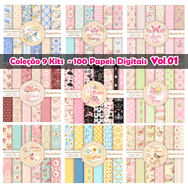 Colección 9 kits Digitales Floral Lujo - 100 Papeles Digitales