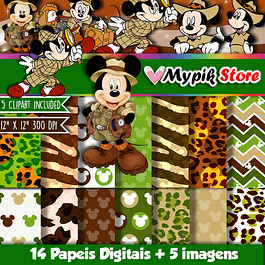 Kit Digital Mickey Mouse Safári -Scrapbook