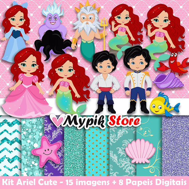 Kit digital Cute Little Mermaid - Colección Ariel