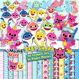 Kit Super Digital Baby Shark - Scrapbook