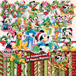 Kit Digital Natal do Mickey - Scrapbook