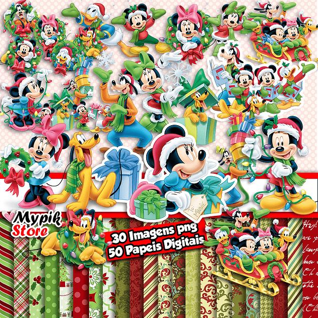 Kit Digital Natal do Mickey - Scrapbook