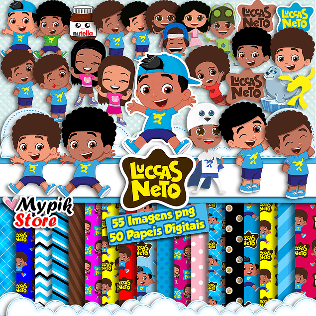 Kit digital Luccas Neto Afro Cliparts PNG