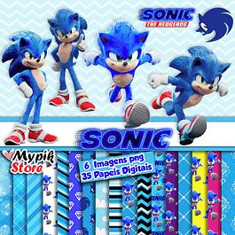 Kit Digital Sonic imagens png e Papeis Digitais