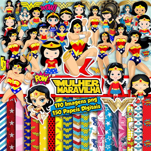 kit súper digital Wonder Woman y Wonder Woman Baby