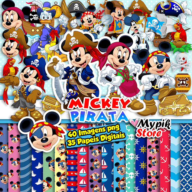Kit digital Mickey Pirata