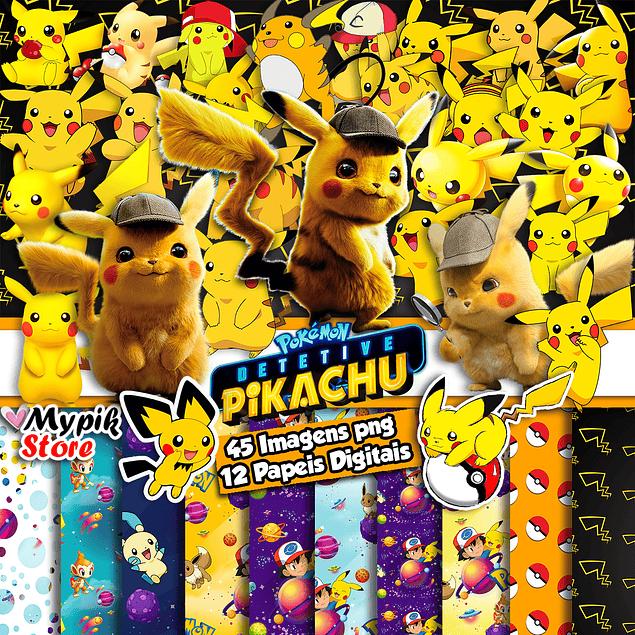 Kit Digital Pikachu Imagens Png e papeis Digitais