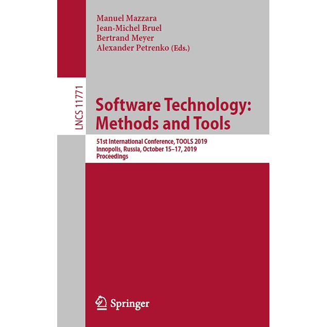 Software Technology: Methods and Tools: 51st International Conference, TOOLS 2019, Innopolis, Russia, October 15–17, 2019, Proceedings