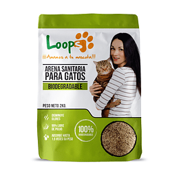 Arena Sanitaria para Gatos Loops Biodegradable (8 x 2 KG)