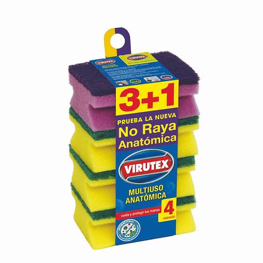 Esponja Acanalada 3+1 Virutex (12 x 4 UD)