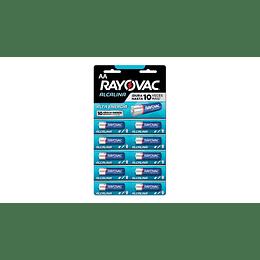 Pilas Alcalinas Rayovac AA 10 UD