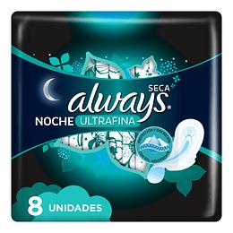 Toalla Femenina Always Ultrafina Nocturna Malla con Alas (12 x 8 UD)