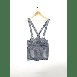 Falda con tirantes de mezclilla ACID WASH talla S