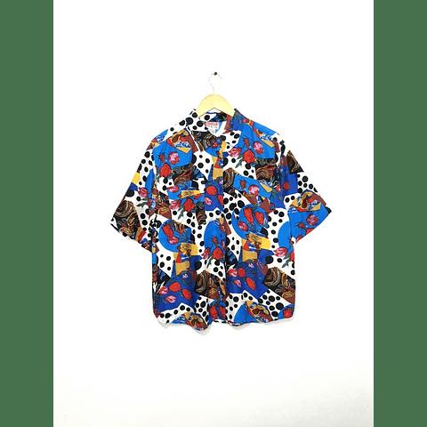 Guayabera vintage azul puntos