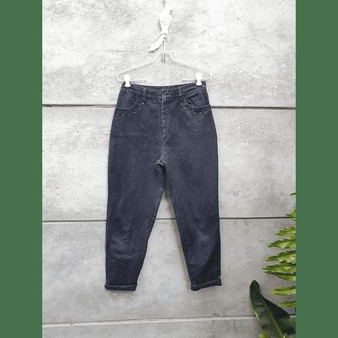 Mom Jeans vintage NEGRO con tachas TALLA 38