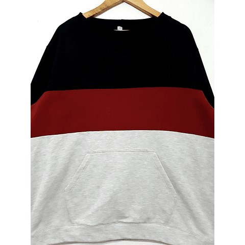 POLERON negro-burdeo-gris talla 2xl