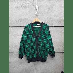 Cardigan negro&verde