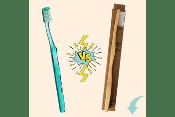 Cepillo de plástico versus cepillo de bambú Dobakaru