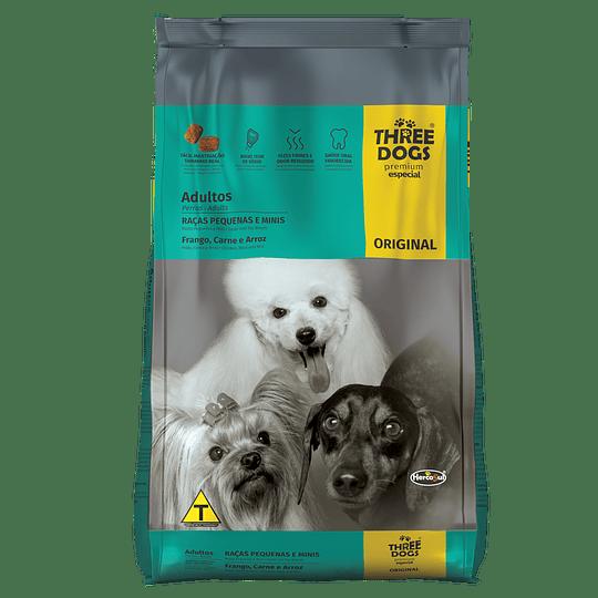 Three Dogs Original Adultos Razas Pequeñas Pollo, Carne y Arroz 10,1 kg