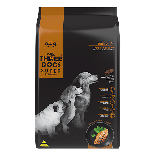 Three Dogs Súper Premium Senior 7+ Pollo y Té Verde 15 kg