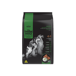 Three Dogs Súper Premium Adultos Razas Medianas y Grandes Carne y Arroz 10,1 kg