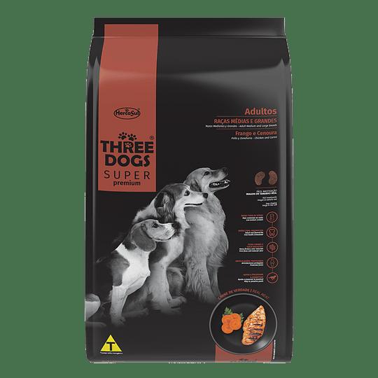 Three Dogs Súper Premium Adultos Razas Medianas y Grandes Polloy Zanahoria 10,1 kg