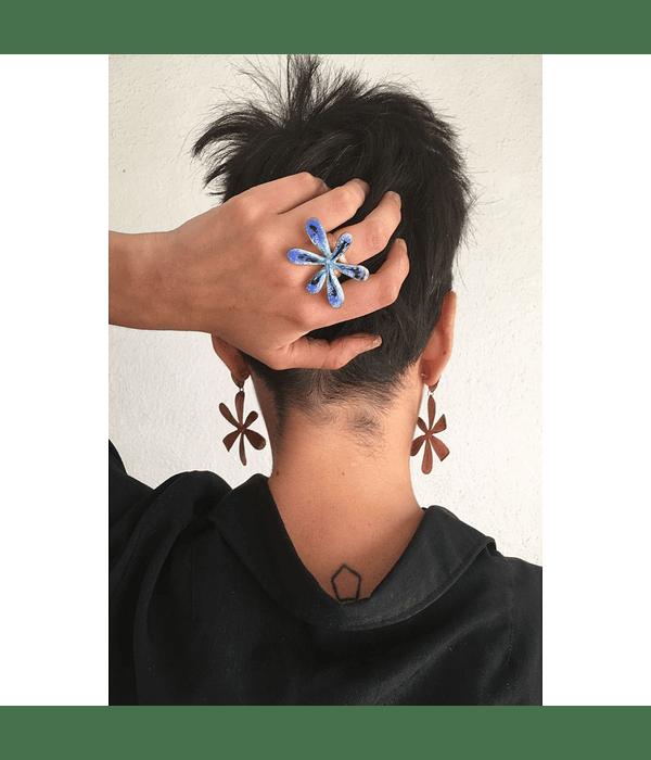 Anillo Flor Azulillo Cobre