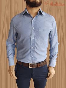 Camisa azul raya blanca delgada con puño para mancorna