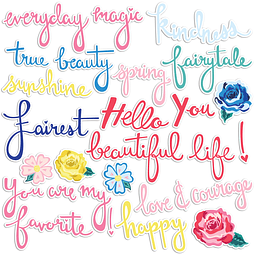 DIE-CUT WORDS AND FLORALS EPHEMERA PACK Colección Hello Beautiful