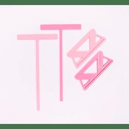 Set de reglas de encuadernación color rosa