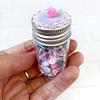 Shaker Mix Lentejuelas y Diamantes Imitacion Rosado